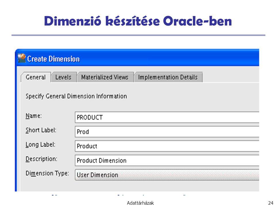 Dimenzió készítése Oracle-ben