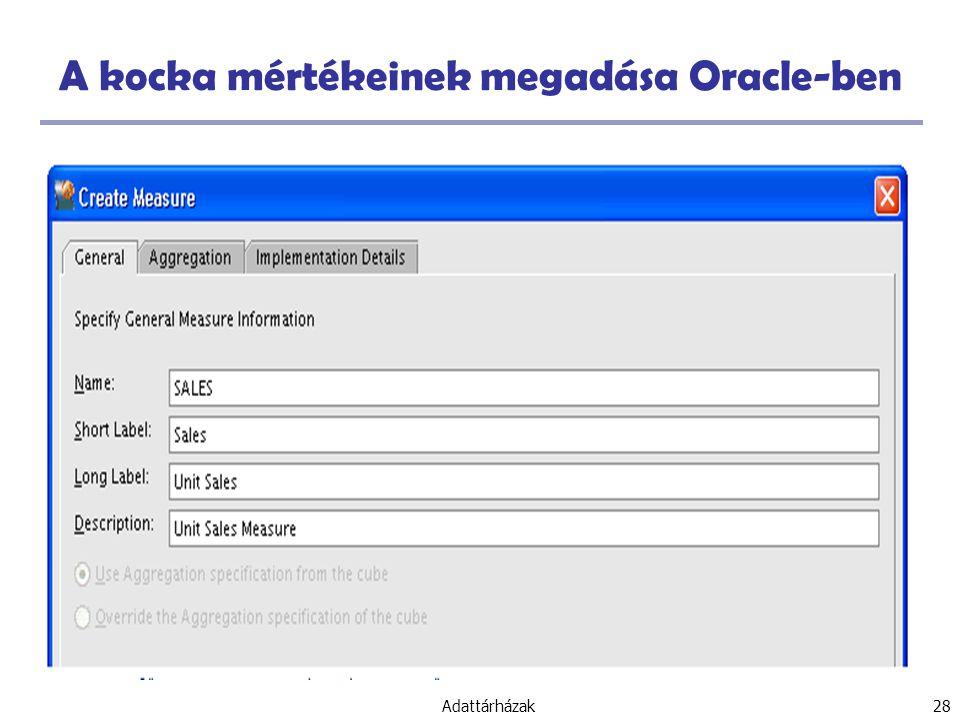A kocka mértékeinek megadása Oracle-ben