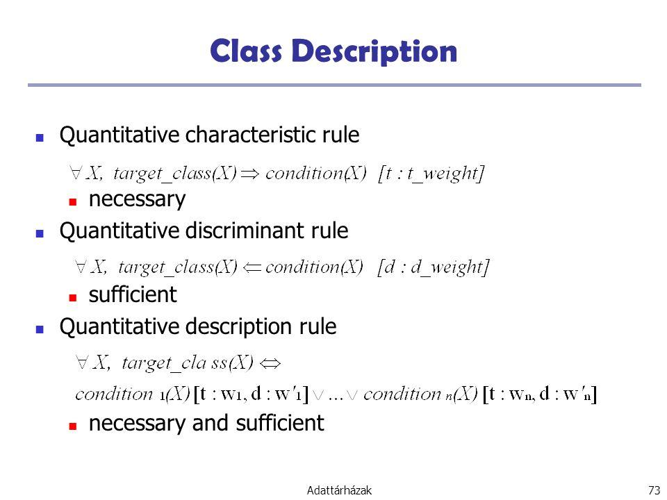 Class Description Quantitative characteristic rule necessary