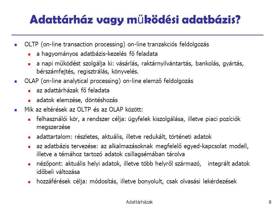 Adattárház vagy működési adatbázis