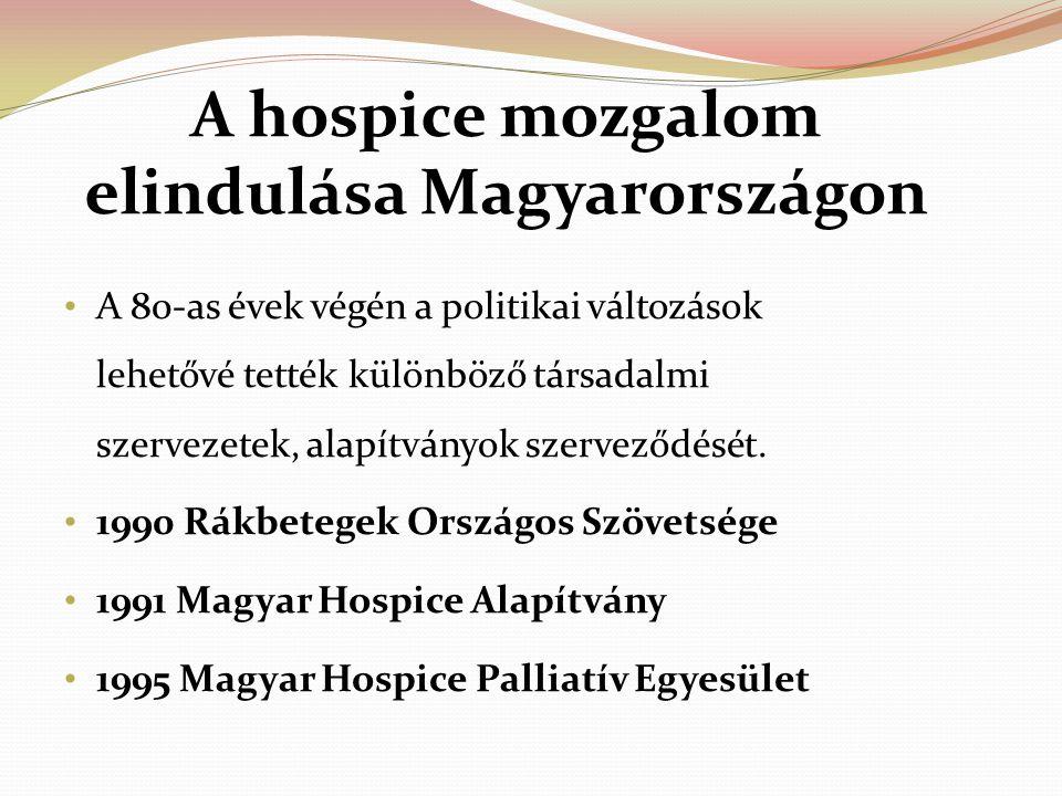 A hospice mozgalom elindulása Magyarországon