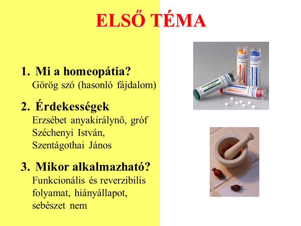 ELSŐ TÉMA Mi a homeopátia Görög szó (hasonló fájdalom)