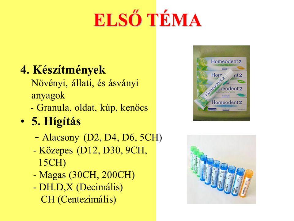 ELSŐ TÉMA 4. Készítmények Növényi, állati, és ásványi anyagok