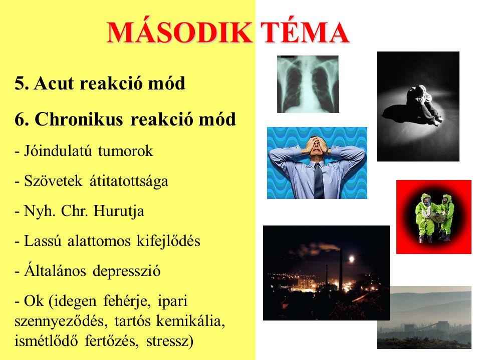 MÁSODIK TÉMA 5. Acut reakció mód 6. Chronikus reakció mód