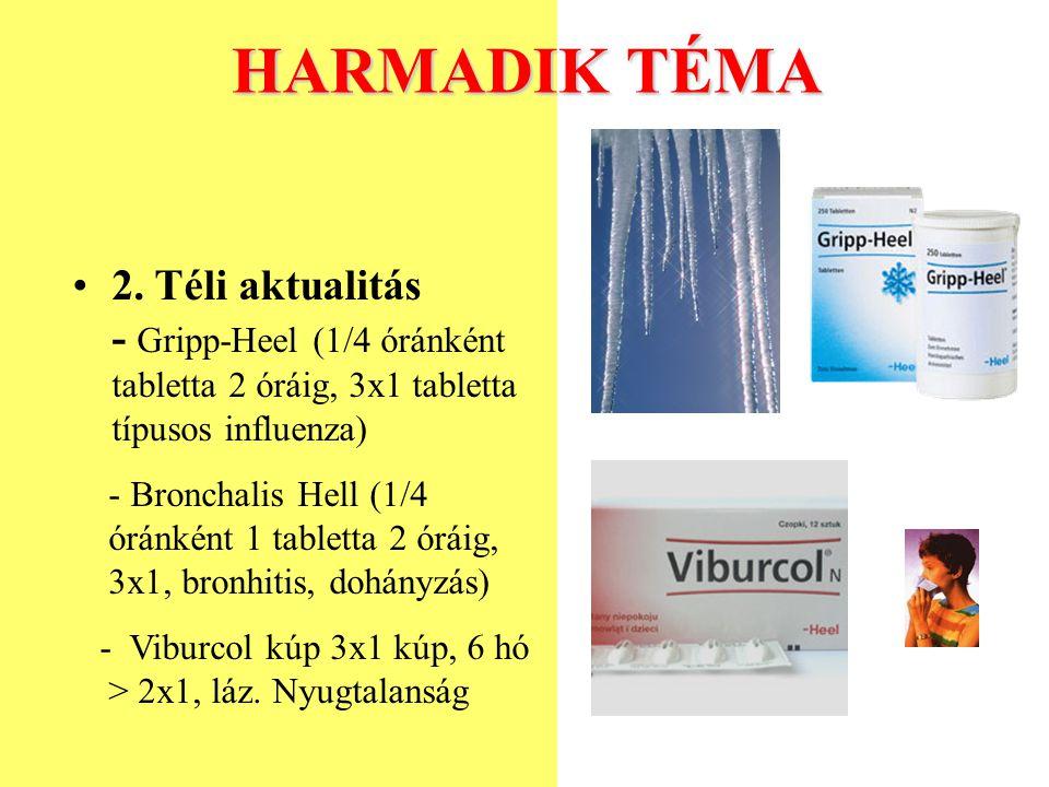 HARMADIK TÉMA 2. Téli aktualitás - Gripp-Heel (1/4 óránként tabletta 2 óráig, 3x1 tabletta típusos influenza)