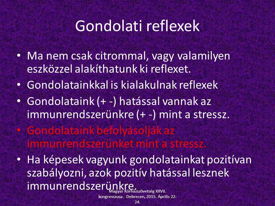 Gondolati reflexek Ma nem csak citrommal, vagy valamilyen eszközzel alakíthatunk ki reflexet. Gondolatainkkal is kialakulnak reflexek.