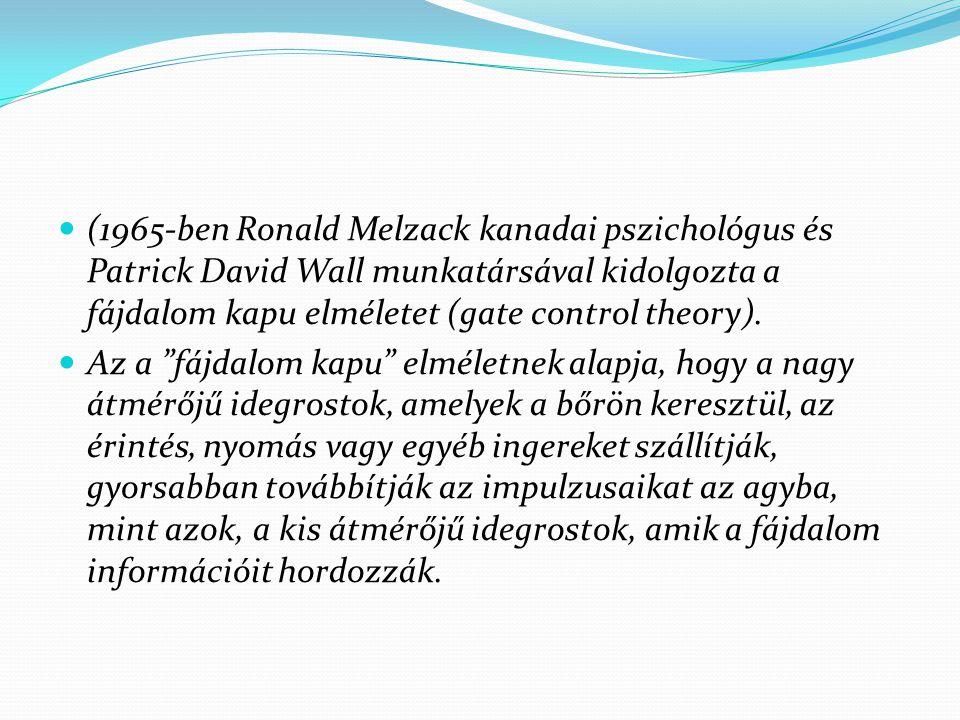 (1965-ben Ronald Melzack kanadai pszichológus és Patrick David Wall munkatársával kidolgozta a fájdalom kapu elméletet (gate control theory).