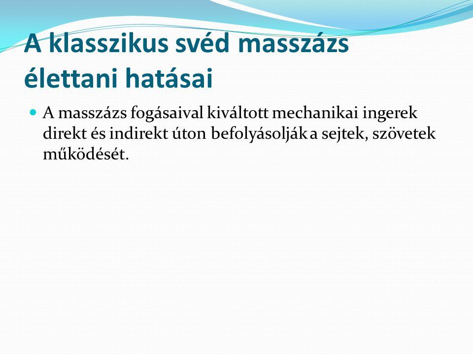A klasszikus svéd masszázs élettani hatásai