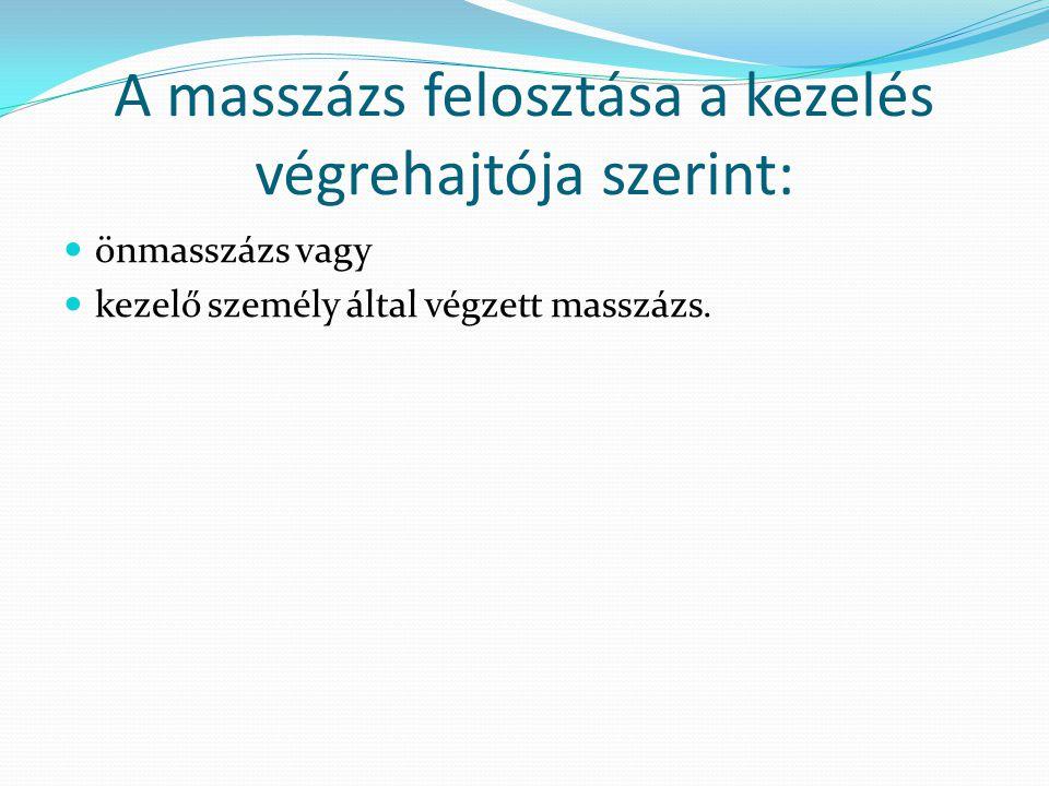 A masszázs felosztása a kezelés végrehajtója szerint:
