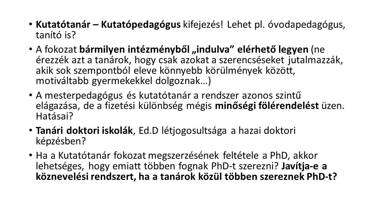 Kutatótanár – Kutatópedagógus kifejezés. Lehet pl