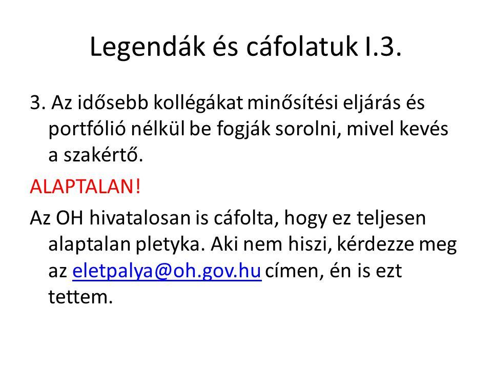 Legendák és cáfolatuk I.3.