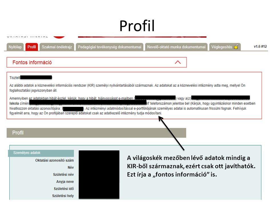 Profil A világoskék mezőben lévő adatok mindig a KIR-ből származnak, ezért csak ott javíthatók.