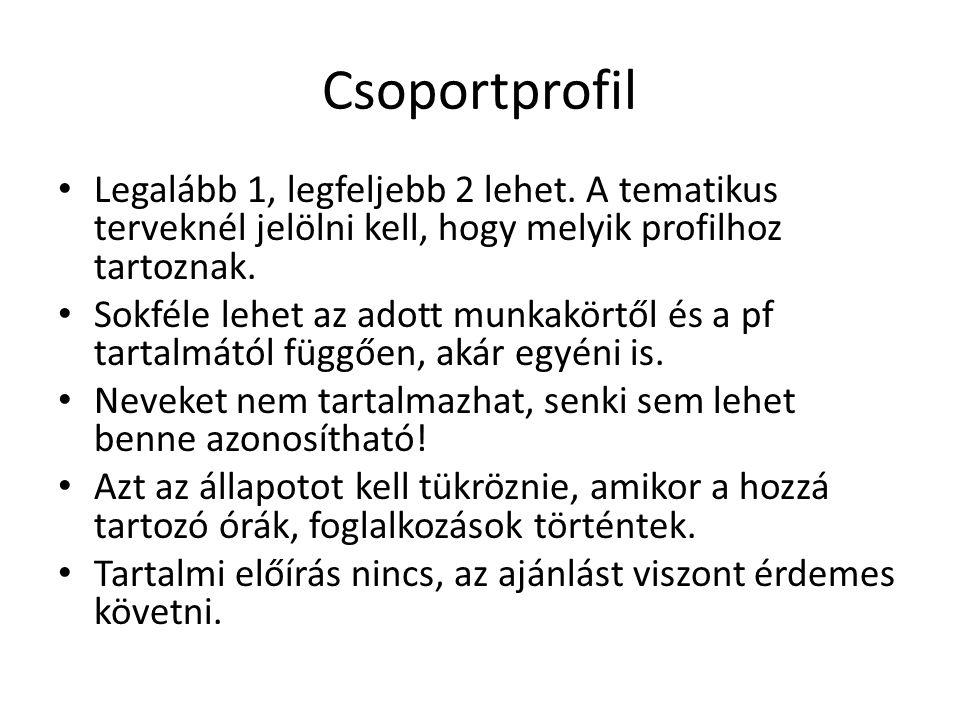 Csoportprofil Legalább 1, legfeljebb 2 lehet. A tematikus terveknél jelölni kell, hogy melyik profilhoz tartoznak.