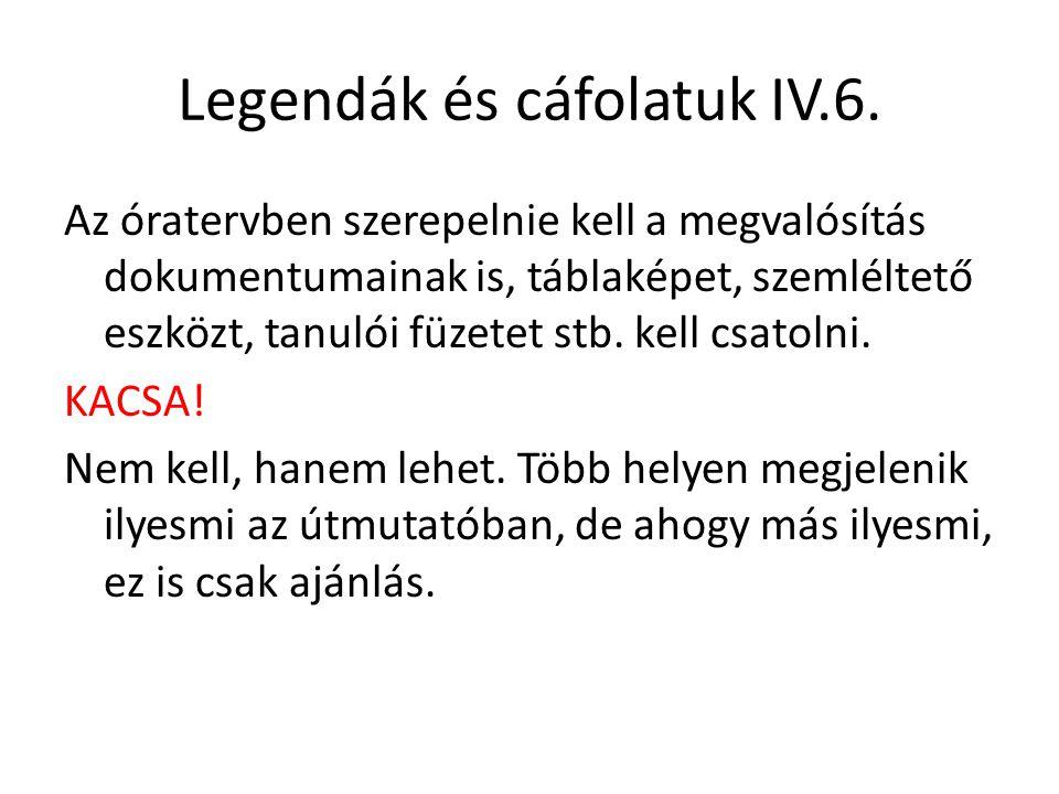 Legendák és cáfolatuk IV.6.