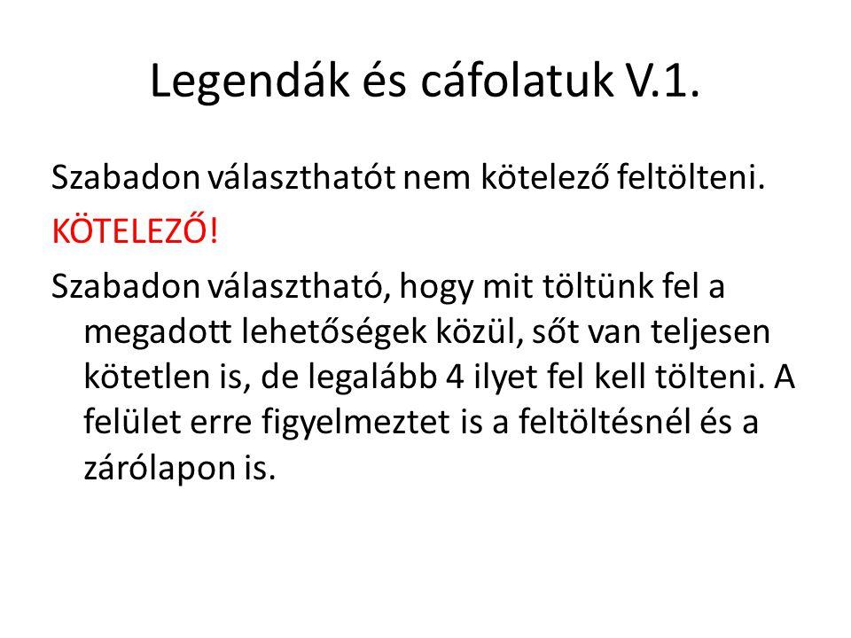 Legendák és cáfolatuk V.1.
