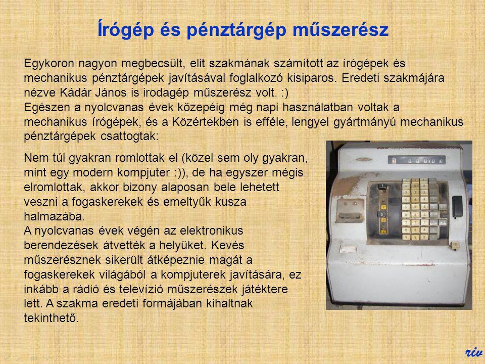 Írógép és pénztárgép műszerész