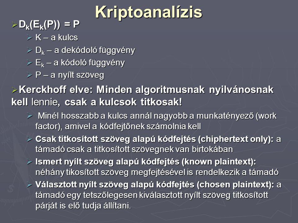 Kriptoanalízis Dk(Ek(P)) = P