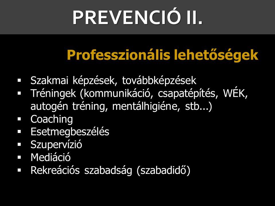 PREVENCIÓ II. Professzionális lehetőségek