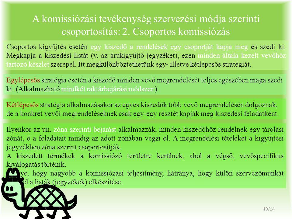 A komissiózási tevékenység szervezési módja szerinti csoportosítás: 2