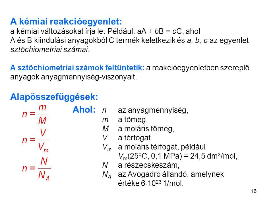 A kémiai reakcióegyenlet: