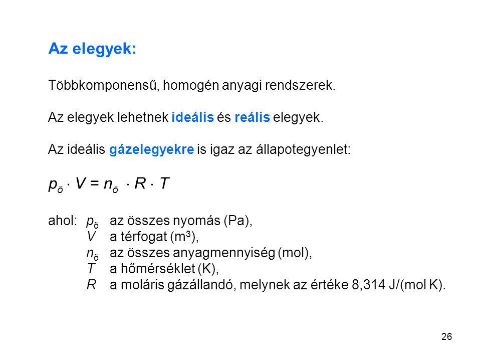 Az elegyek: pö  V = nö  R  T