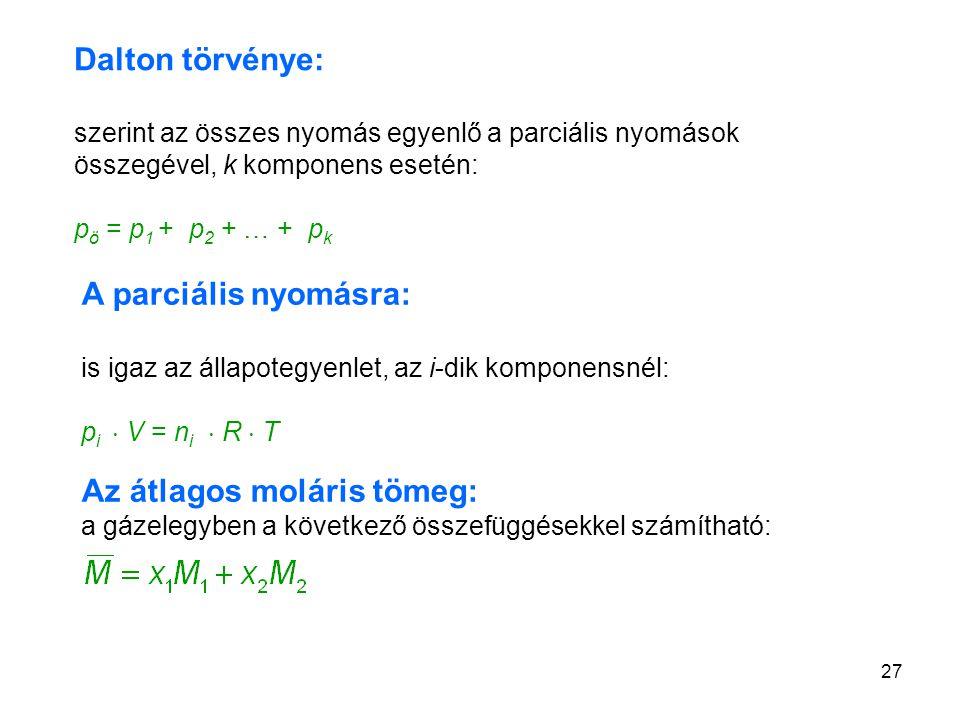 Az átlagos moláris tömeg: