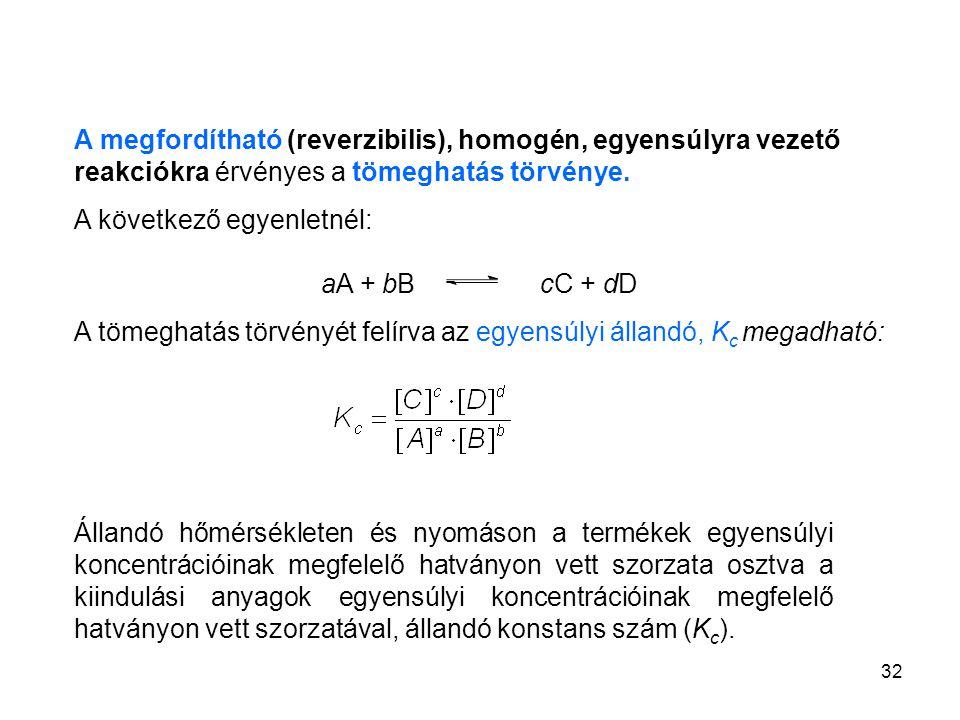 A megfordítható (reverzibilis), homogén, egyensúlyra vezető reakciókra érvényes a tömeghatás törvénye.