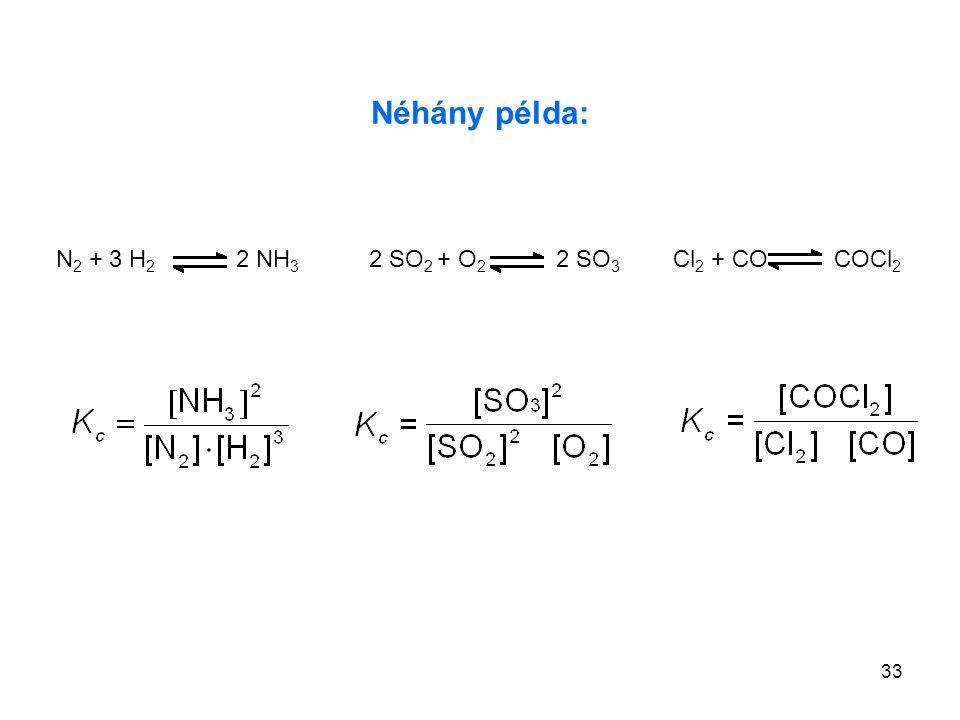 Néhány példa: N2 + 3 H2 2 NH3 2 SO2 + O2 2 SO3 Cl2 + CO COCl2