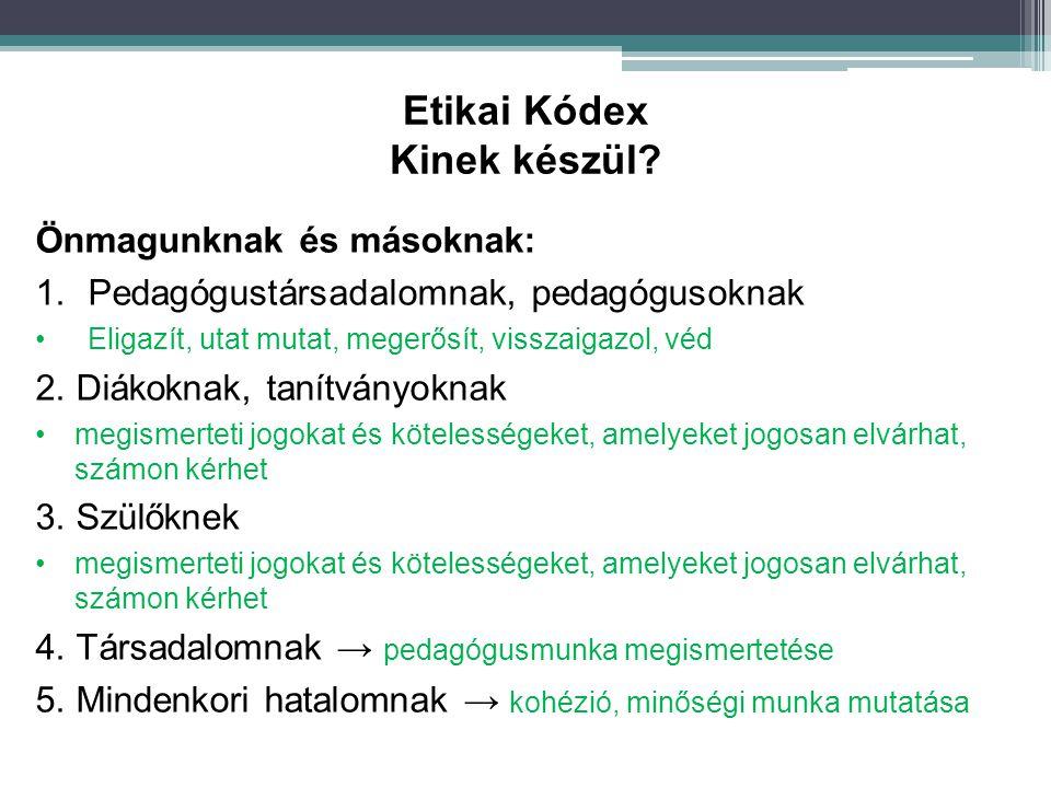 Etikai Kódex Kinek készül