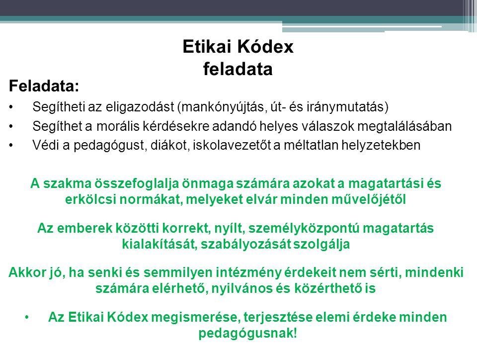 Etikai Kódex feladata Feladata: