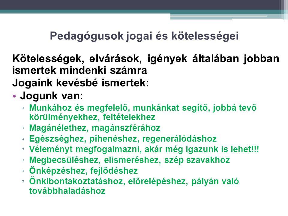 Pedagógusok jogai és kötelességei