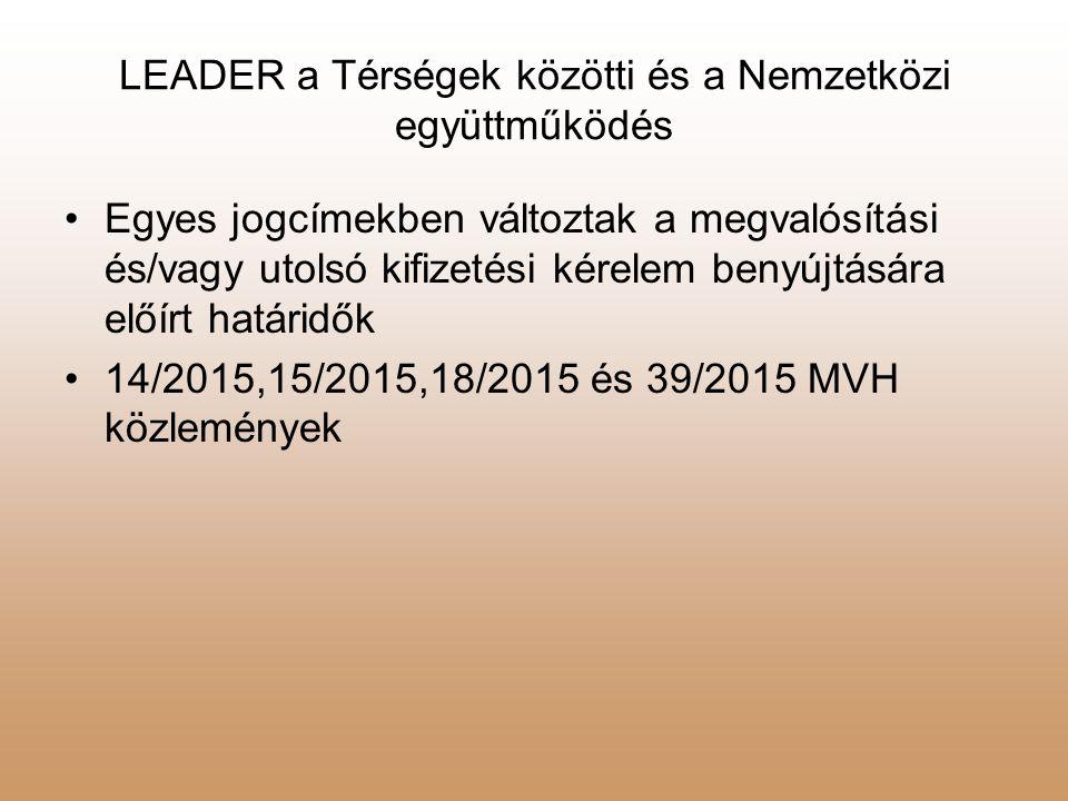 LEADER a Térségek közötti és a Nemzetközi együttműködés