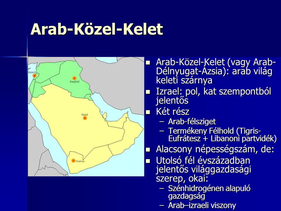 Arab-Közel-Kelet Arab-Közel-Kelet (vagy Arab-Délnyugat-Ázsia): arab világ keleti szárnya. Izrael: pol, kat szempontból jelentős.