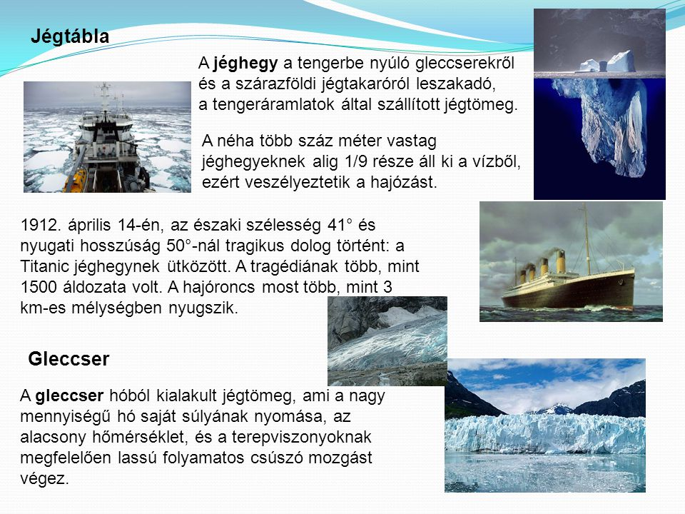 Jégtábla A jéghegy a tengerbe nyúló gleccserekről és a szárazföldi jégtakaróról leszakadó, a tengeráramlatok által szállított jégtömeg.