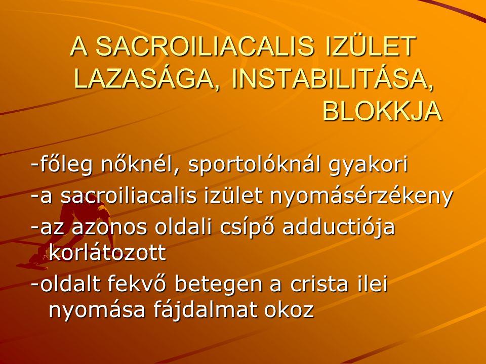 A SACROILIACALIS IZÜLET LAZASÁGA, INSTABILITÁSA, BLOKKJA