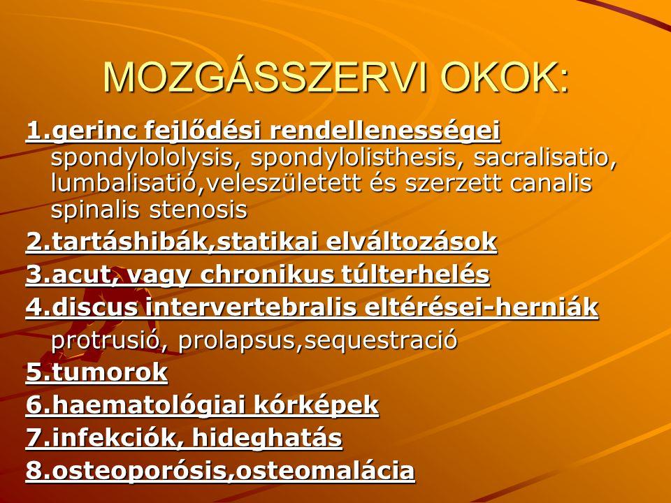 MOZGÁSSZERVI OKOK:
