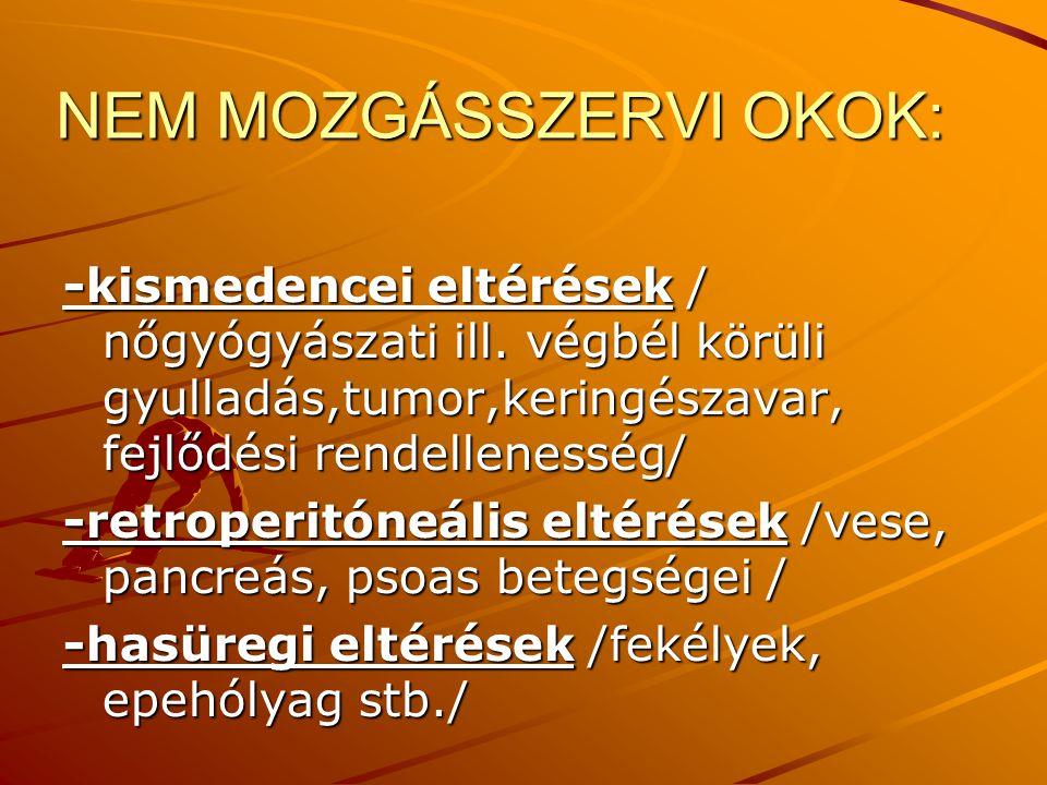NEM MOZGÁSSZERVI OKOK: