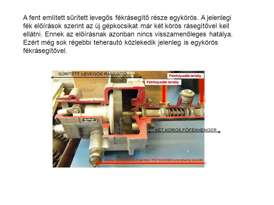 A fent említett sűrített levegős fékrásegítő része egykörös