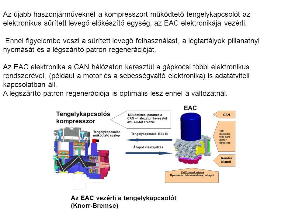 Az újabb haszonjárműveknél a kompresszort működtető tengelykapcsolót az elektronikus sűrített levegő előkészítő egység, az EAC elektronikája vezérli.