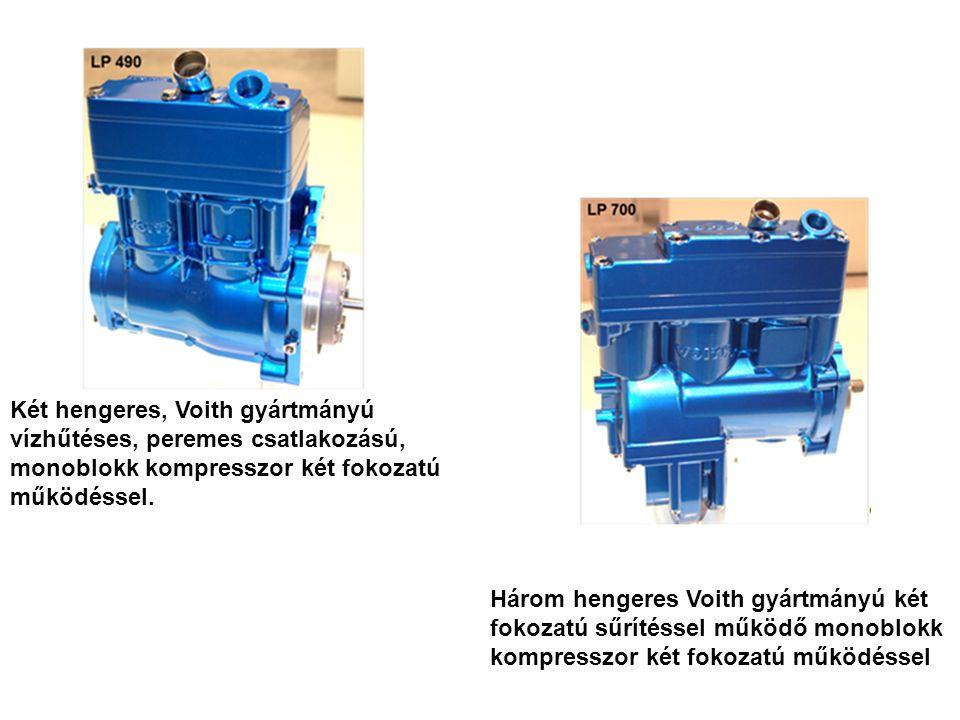 Két hengeres, Voith gyártmányú vízhűtéses, peremes csatlakozású, monoblokk kompresszor két fokozatú működéssel.