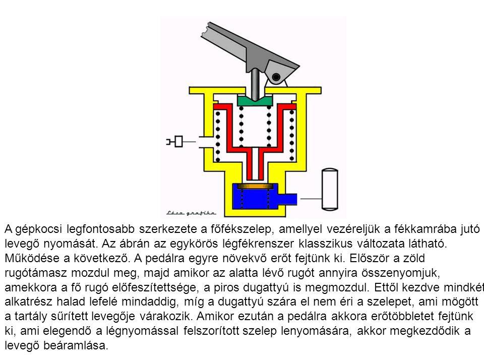 A gépkocsi legfontosabb szerkezete a főfékszelep, amellyel vezéreljük a fékkamrába jutó levegő nyomását.