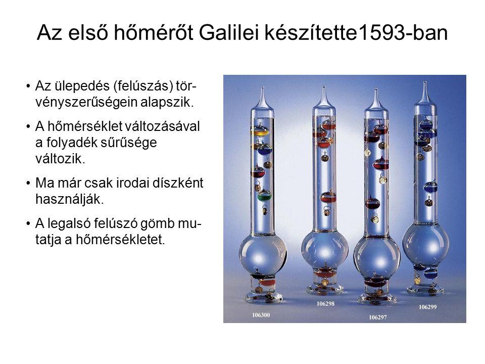 Az első hőmérőt Galilei készítette1593-ban