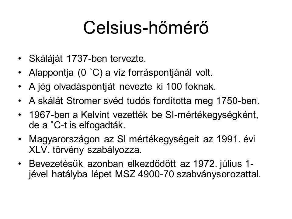 Celsius-hőmérő Skáláját 1737-ben tervezte.