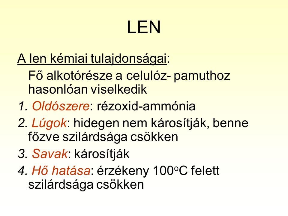 LEN A len kémiai tulajdonságai: