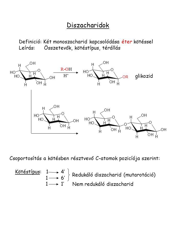 Diszacharidok Definició: Két monoszacharid kapcsolódása éter kötéssel