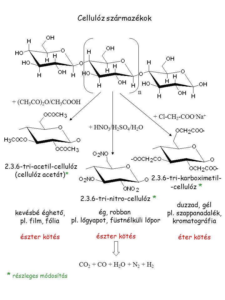 Cellulóz származékok * részleges módosítás n + (CH3CO)2O/CH3COOH