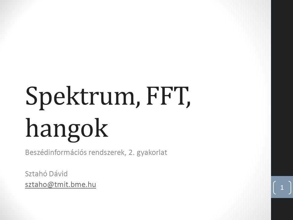 Spektrum, FFT, hangok Beszédinformációs rendszerek, 2. gyakorlat