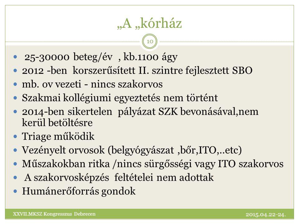 """""""A """"kórház 25-30000 beteg/év , kb.1100 ágy"""