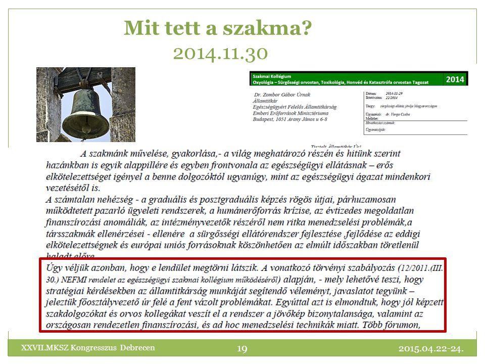 Mit tett a szakma 2014.11.30 XXVII.MKSZ Kongresszus Debrecen 2015.04.22-24.
