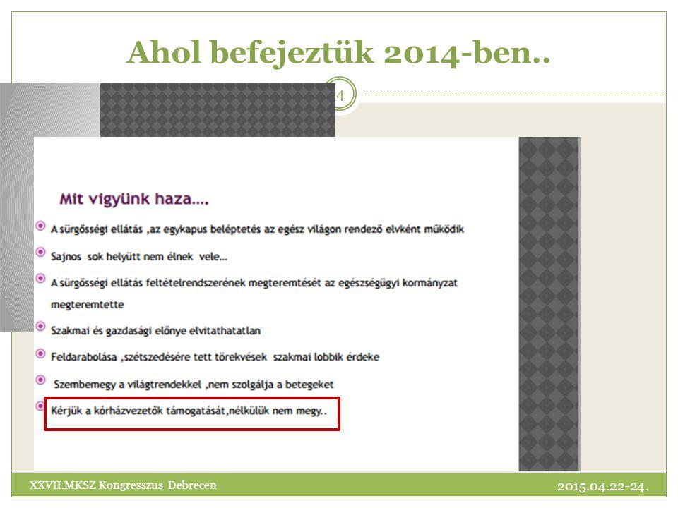 Ahol befejeztük 2014-ben.. XXVII.MKSZ Kongresszus Debrecen 2015.04.22-24.